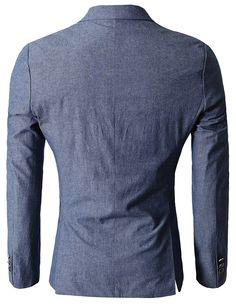 8eec457fed3 H2H Mens Unique Slim fit Linen Blazer With One Button BLUE US L Asia 3XL  (KMOBL061)