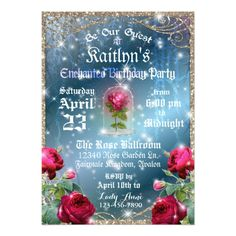 Beauty and the Beast Red Rose Birthday Party Card
