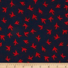 Telio Moda Crepe Bird Print Navy/Red from @fabricdotcom  Fashionable, very lightweight and soft, this crepe fabric is perfect for trendy blouses, scarves, fashionable flowy dresses and skirts.with a lining. Colors include black and white. This crepe fabric has an opaque appearance, much like Crepe Georgette, but has a finer weave.