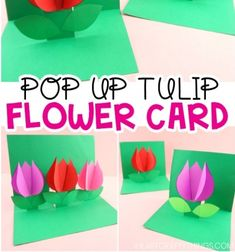 DIY Pop up tulip flower card Mother's day card - Easy Crafts for All Radish Flowers, Tulips Flowers, Diy Flowers, Flower Decorations, Paper Flower Wreaths, Paper Flowers, Mother's Day Bouquet, Vegetable Carving, Flower Video