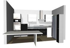 Puustellin suunnittelema esteetön keittiö 3D-kuvana.
