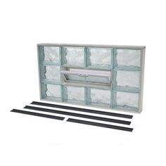 NailUp 2 32 in. x 18 in. x 3-1/4 in. Wave Pattern Vented Glass Block Window  Home Depot $81