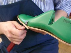 step one - affixing the insole to the last and trimming it.