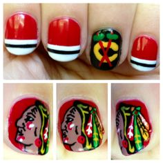 Chicago Blackhawks nails - I'm sooo not artistic enough to manage the Indian head. Stripes I can handle.