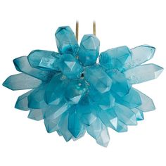Illuminated Crystal Cluster Sculpture in Blue Hand-Blown Glass | From a unique collection of antique and modern chandeliers and pendants at https://www.1stdibs.com/furniture/lighting/chandeliers-pendant-lights/