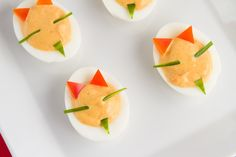 Cute Halloween appetizer - Devilish Eggs from Healthful Pursuit