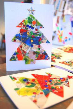 Christmas Card Crafts for kids - http://northstory.ca                                                                                                                                                                                 More