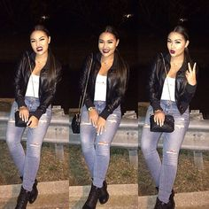 Pretty Girl Swag Dope Fashion Outfit Streetwear Urban Style Trend Leather Biker Jaclet Denim Ripped Jeans Nιcσℓe Yourstruly____