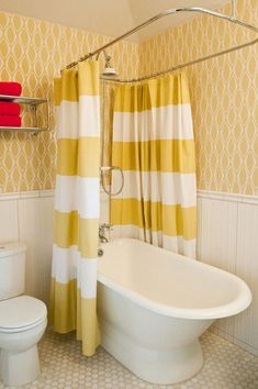 A small bathtub is absolutely the right bathtub to use in a small bathroom since something small is definitely what suits a small room. A small bathtub can be used in the same area with a shower in the bathroom so the user can soak themselves in the Amazing Bathrooms, Bathroom Design, Yellow Bathrooms, Designer Shower Curtains, Modern Bathroom, Yellow Shower Curtains, Trendy Bathroom, Shower Tub, Color Bathroom Design