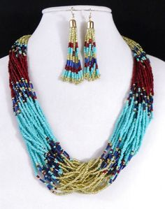 Cowgirl Bling Southwest Turquoise Red Multi str Indian style Bead necklace set #icon