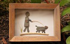 Walking the dog. Pebble art by www.saltandpebbles.com #DogWalking