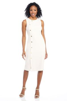 Meet Annmarie, the classic piece you MUST add to your wardrobe! This perfectly polished midi features a fully lined silhouette and decorative button details. This is desk to dinner wear at its finest. Summer Work Dresses, Petite Jumpsuit, Dinner Wear, Crepe Fabric, My Wardrobe, Pleated Skirt, Fit And Flare, How To Wear, Outfits