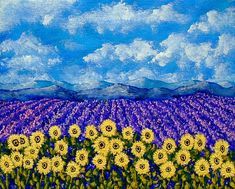 Field of Lavender and Sunflowers ORIGINAL ACRYLIC PAINTING