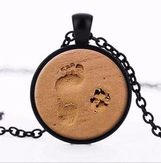 Sand Pet Paw Foot Print Dog Cat Charm Pendent Memorial Necklace - FREE SHIPPING!  | eBay