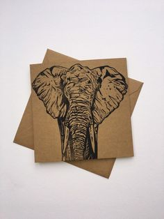 Original design of an elephant. Hand carved onto easycut Lino and printed onto brown card Water based ink Merry Christmas Message, Christmas Cards, Thing 1, Linoprint, A Level Art, Stencil Art, Linocut Prints, Blank Cards, Printmaking