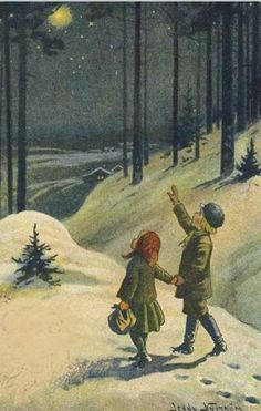 illustration by Jenny Nystrom Swedish Christmas, Noel Christmas, Vintage Christmas Cards, Christmas Images, Scandinavian Christmas, Vintage Holiday, Christmas Greetings, Winter Christmas, Xmas