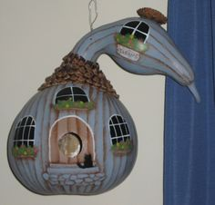 Made this birdhouse out of a dried gourd and pinecones. Gourds Birdhouse, Birdhouses, Gourd Crafts, Diy Ideas, Craft Ideas, Painted Gourds, Gourd Art, Pine Cones, Projects To Try