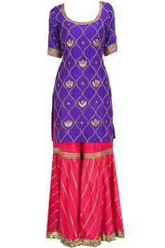 Pink embroidered kurta with purple gharara available only at Pernia's Pop-Up Shop.
