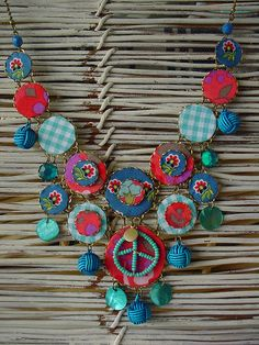 textile jewelry peace and love