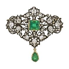 Emerald and Diamond Brooch http://www.langantiques.com/products/item/50-1-2176