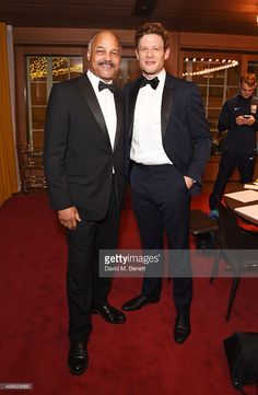 John Conteh (L) and James Norton attend the Royal Marines Boxing Bout at Cafe Royal in celebration of their 150th Anniversary on November 24, 2015 in London, England.