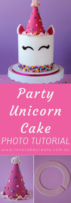 How to Make a Party Unicorn Cake - by Love Cake Create A step by step tutorial . How to Make a Party Unicorn Cake – by Love Cake Create A step by step tutorial for making the mo Easy Unicorn Cake, Unicorn Cake Pops, Unicorn Cakes, How To Make A Unicorn Cake, Birthday Cake Decorating, Cake Birthday, Unicorn Birthday, Birthday Kids, Unicorn Party