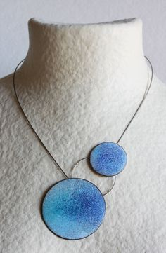 Two Points Necklace  Blue  Enameled copper Steel by mardecoLorrosa, €55.00
