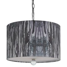 Pendant with a hand-printed shade.    Product: Pendant    Construction Material: Styrene and fabric
