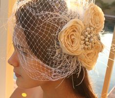 Bridal Bird Cage Veil  Ivory 3 flower by divinebridaldesigns, $64.00
