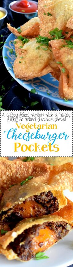 Fried Vegetarian Cheeseburger Pockets - A fun and delicious appetizer that can be enjoyed by vegetarians and meat-eaters alike; Fried Vegetarian Cheeseburger Pockets just might become your newest addiction!