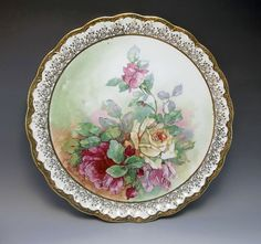 Antique Carnation McNicol Pink Roses Large Charger Plate Porcelain Gold  #Victorian #CarnationMcNicol