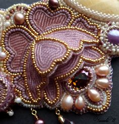 Beaded Necklaces Embroidery beaded Necklace by ChikinevaIrina