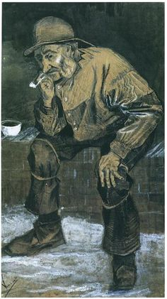 Vincent Van Gogh - Fisherman with a Sou'wester with a Pipe Ink, 1883 graphite and Chalk cm Otterlo, Collection Kröller Müller Museum Rembrandt, Vincent Van Gogh, Van Gogh Drawings, Van Gogh Paintings, Theo Van Gogh, Art Van, Edgar Degas, Dutch Artists, Famous Artists