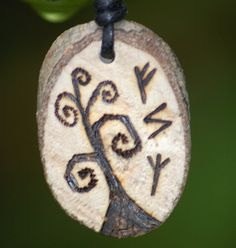 Celtic Pendant, Tree of Life, Apple Tree Wood. Wealth, Success and Protection Runes.