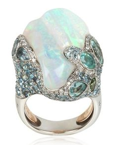 Ocean Breeze Opal ring, from www.luisaviaroma.com (screen shots of add'l views). This is too huge a ring for my taste, but the concept is strangely beautiful.