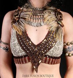 Tribal belly dance top, feathers, beads and coins!