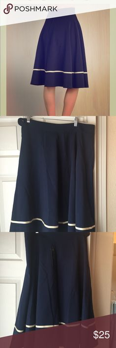 Rock Steady 1x navy with white strip skirt NWT Modcloth skirt. Needs some pressing never worn tags attached. Rock steady runs a little small. Fits like an XL ModCloth Skirts