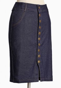 love the antique buttons on this skirt