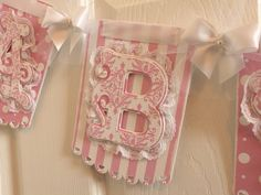 The Eliza Lace Trimmed Damask Pink And White Baby Girl Banner For Shower Photo Prop Or Nursery Baby Banners, Paper Banners, Shower Banners, Pennant Banners, Bow Garland, Garlands, Cricut Banner, Cricut Craft, Girl Shower