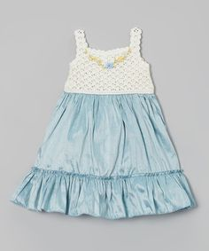 Look what I found on #zulily! Blue Crocheted Ruffle Silk-Blend Dress - Infant, Toddler & Girls by Victoria Kids #zulilyfinds
