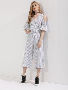 f5a211bcb6800 Buy KOOVS Multi Stripe Cold Shoulder Culotte Jumpsuit for Girls Online in  India