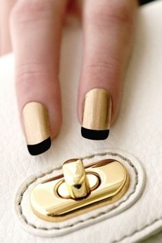 Metallic Gold Black Nails with Tips