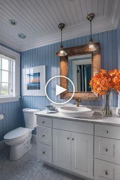 Nautical Bathroom Design Ideas, Bathroom Design Small, Bathroom Designs, Kitchen Designs, Beachy Bathroom Ideas, Bathroom Wall Ideas, Cottage Bathroom Design Ideas, Bathroom Wall Coverings, Cottage Style Bathrooms