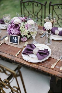 royal purple table setting #tablescape #weddinginspiration #weddingchicks http://www.weddingchicks.com/2014/03/31/sweet-heirloom-garden-wedding-inspiration/