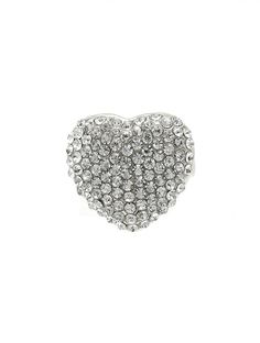 Ring Pave Crystal Stone Metal Heart 7/8 Inch Tall 7/8 Inch Wide Size 8 /