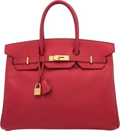 """Hermes 35cm Rouge Vif Courchevel Leather Birkin Bag with GoldHardware. D Square, 2000. Excellent Condition. 14"""" Width x1..."""
