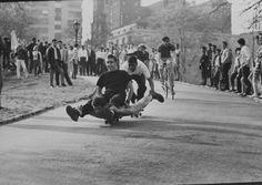 Skateboarding those days..