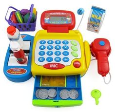 AMPERSAND SHOPS Kids Supermarket Cash Register Play Set ** Learn more by visiting the image link.