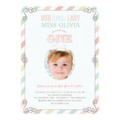 Baby Girl Vintage 1st Birthday Party Photo Invite