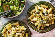 Recipe: Green Garlic Pesto Pasta with Romaine Salad & Creamy Lemon Dressing - Blue Apron